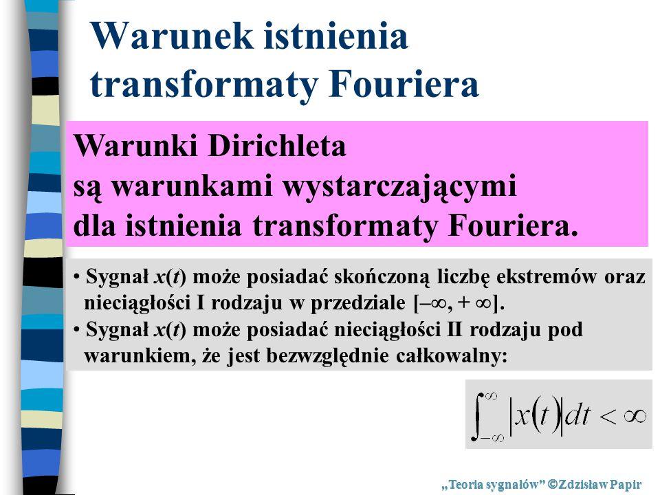 Warunek istnienia transformaty Fouriera