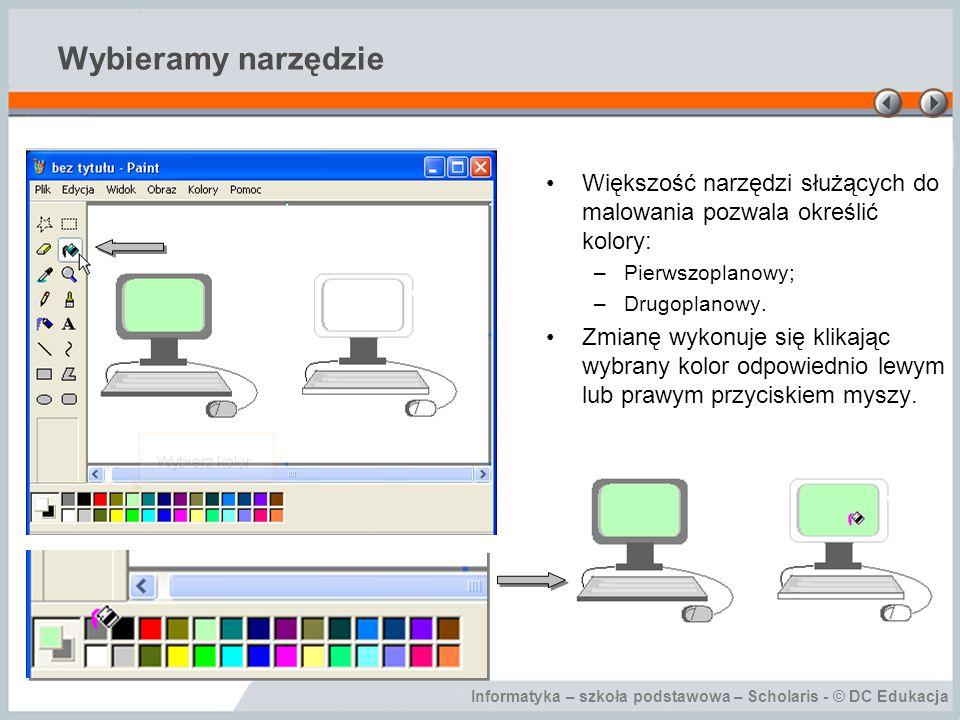 Wybieramy narzędzie Większość narzędzi służących do malowania pozwala określić kolory: Pierwszoplanowy;