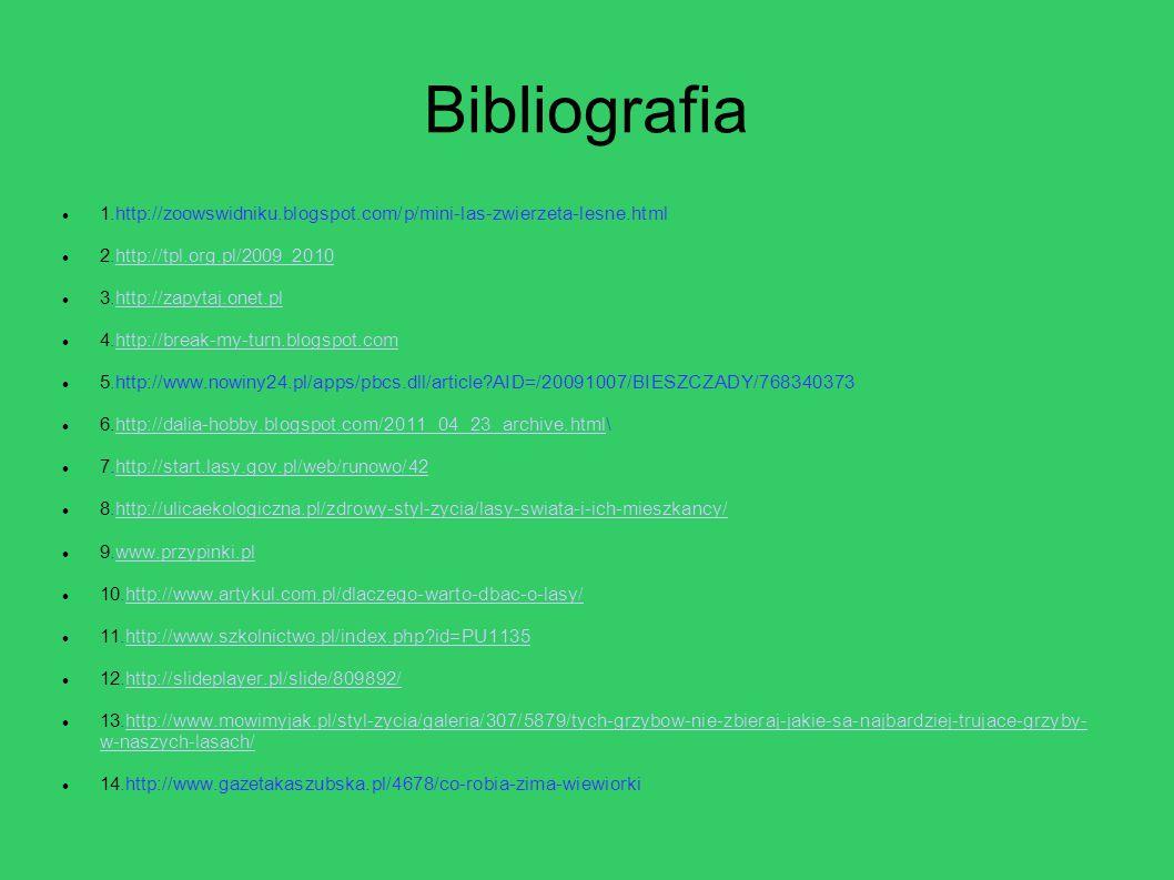 Bibliografia 1.http://zoowswidniku.blogspot.com/p/mini-las-zwierzeta-lesne.html. 2.http://tpl.org.pl/2009_2010.