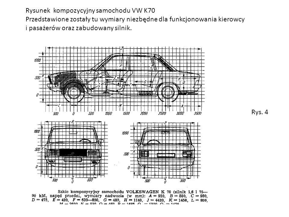 Rysunek kompozycyjny samochodu VW K70