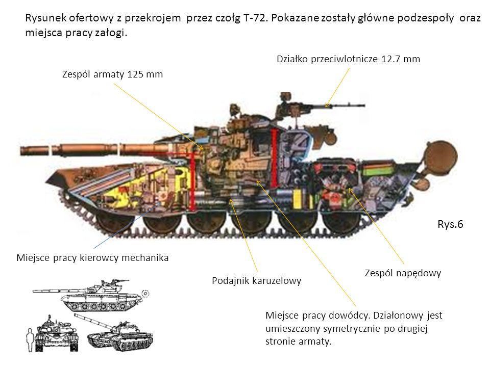 Rysunek ofertowy z przekrojem przez czołg T-72