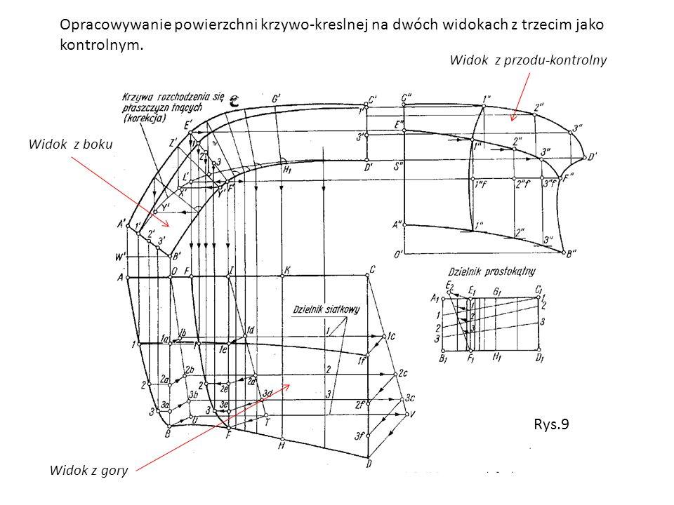 Opracowywanie powierzchni krzywo-kreslnej na dwóch widokach z trzecim jako