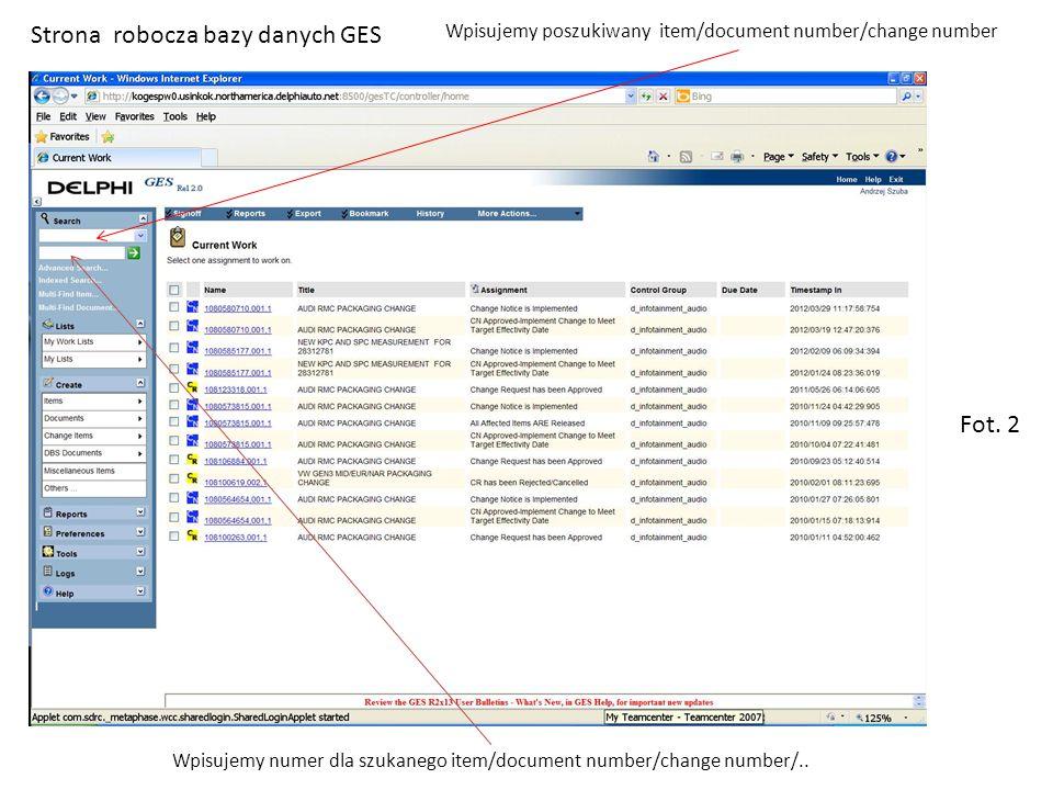Strona robocza bazy danych GES