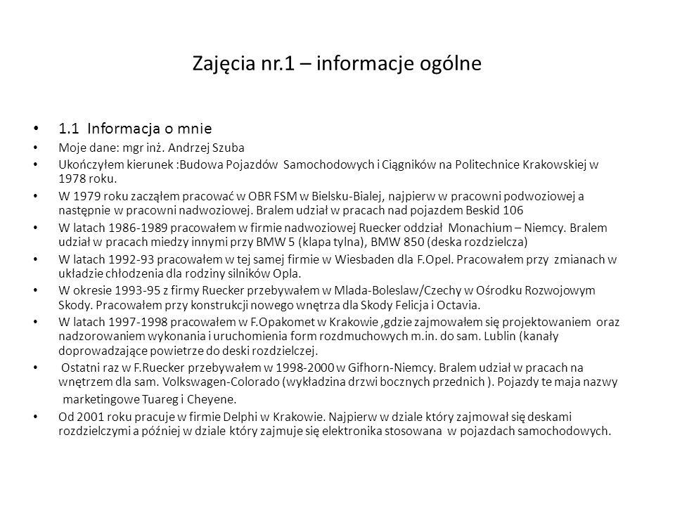 Zajęcia nr.1 – informacje ogólne