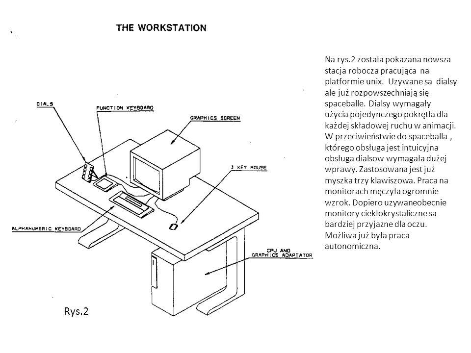 Na rys.2 została pokazana nowsza stacja robocza pracująca na platformie unix. Uzywane sa dialsy ale już rozpowszechniają się spaceballe. Dialsy wymagały