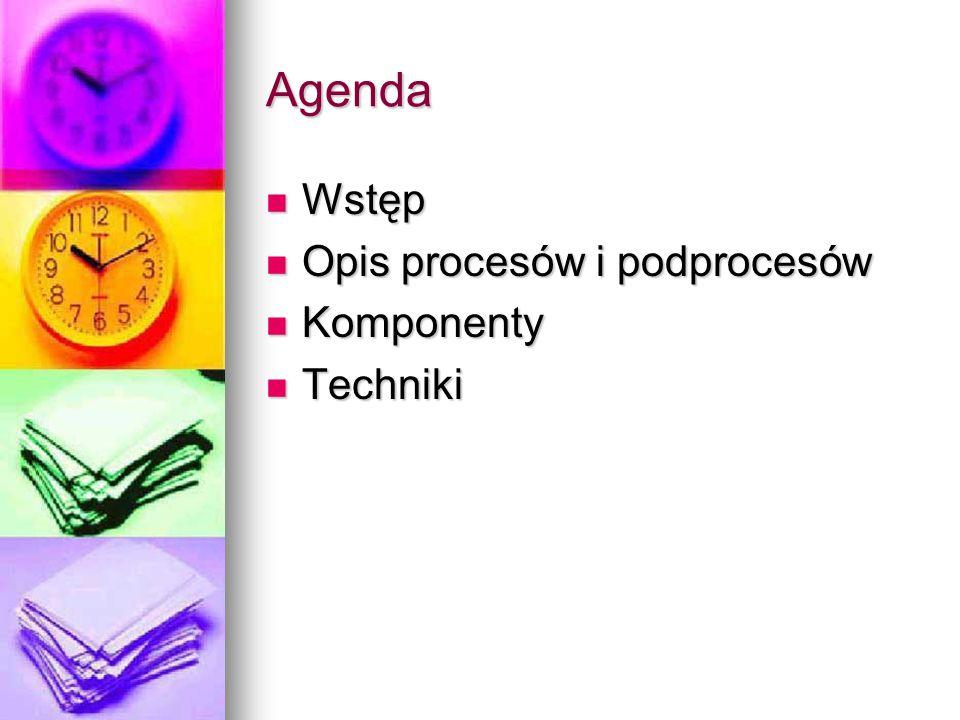 Agenda Wstęp Opis procesów i podprocesów Komponenty Techniki