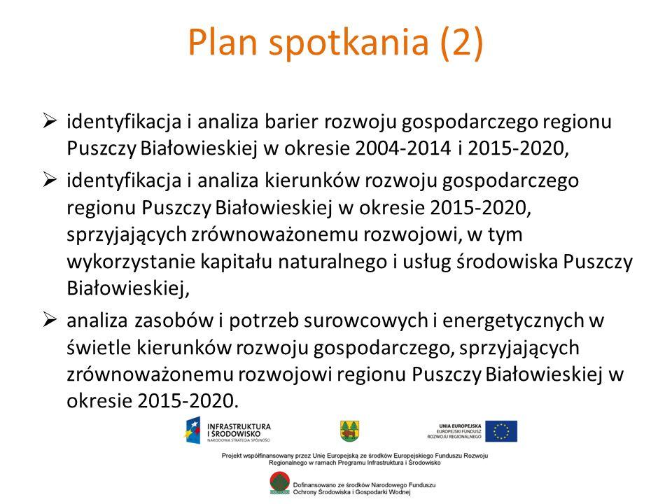 Plan spotkania (2) identyfikacja i analiza barier rozwoju gospodarczego regionu Puszczy Białowieskiej w okresie 2004-2014 i 2015-2020,