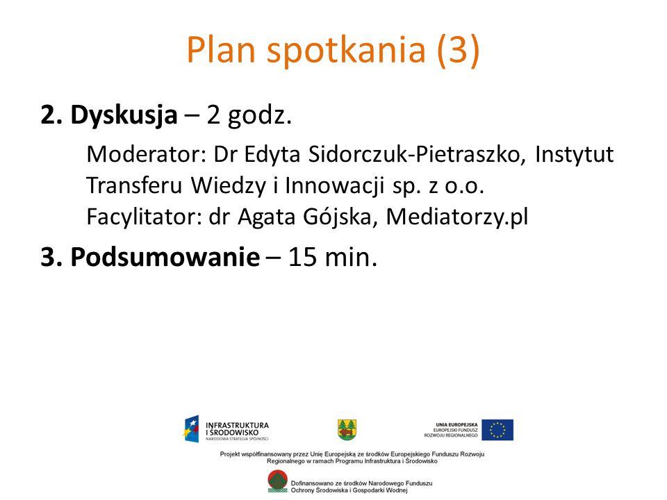 Plan spotkania (3) 2. Dyskusja – 2 godz. 3. Podsumowanie – 15 min.
