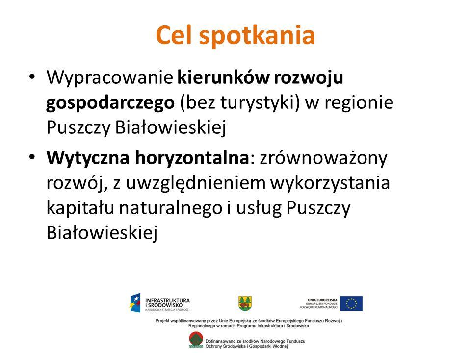 Cel spotkania Wypracowanie kierunków rozwoju gospodarczego (bez turystyki) w regionie Puszczy Białowieskiej.