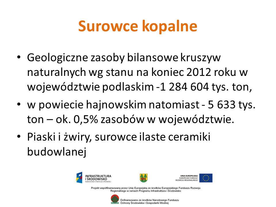 Surowce kopalne Geologiczne zasoby bilansowe kruszyw naturalnych wg stanu na koniec 2012 roku w województwie podlaskim -1 284 604 tys. ton,