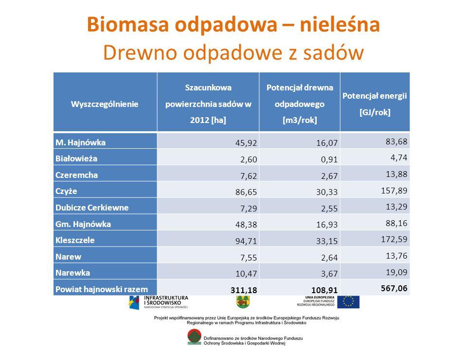 Biomasa odpadowa – nieleśna Drewno odpadowe z sadów