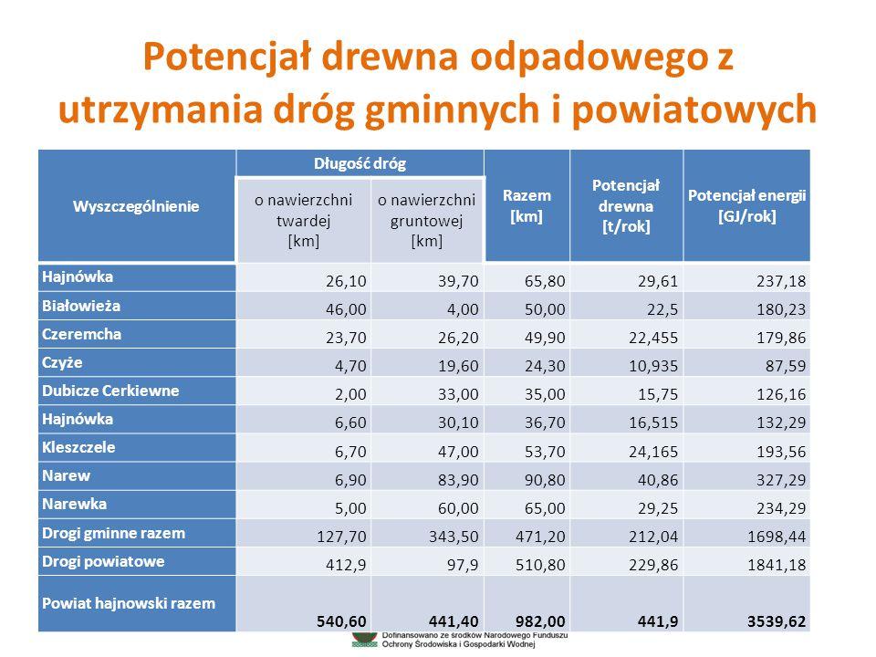 Potencjał drewna odpadowego z utrzymania dróg gminnych i powiatowych