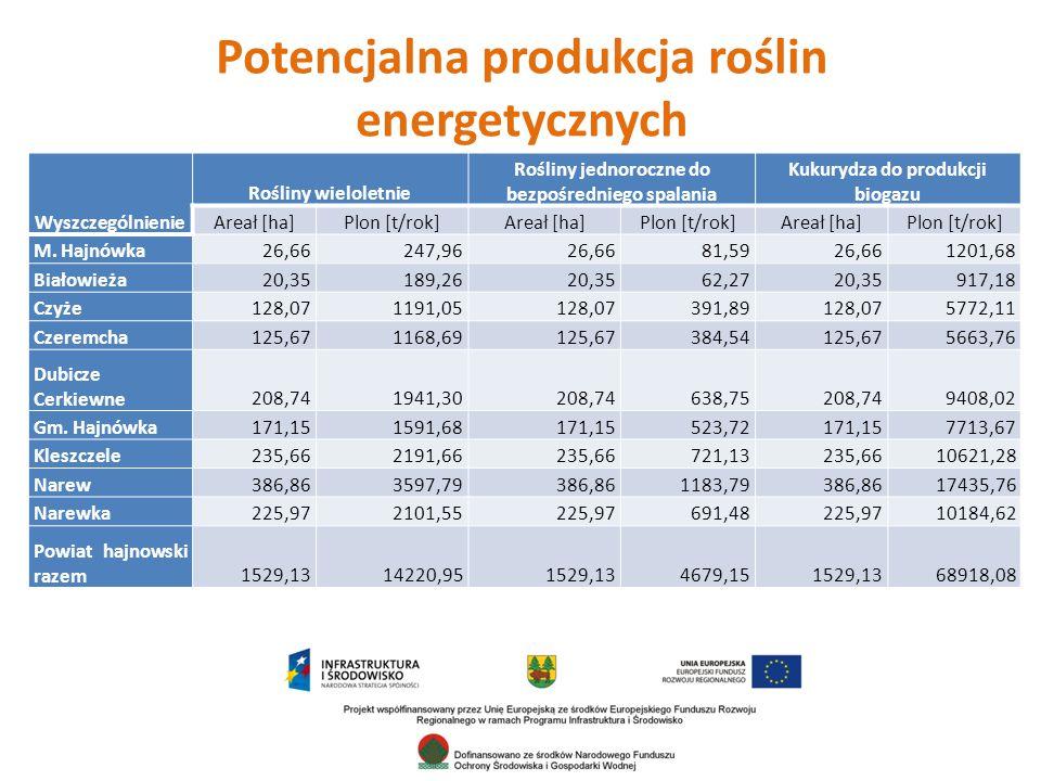 Potencjalna produkcja roślin energetycznych