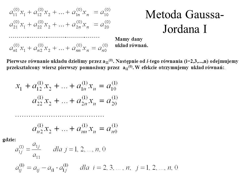 Metoda Gaussa-Jordana I