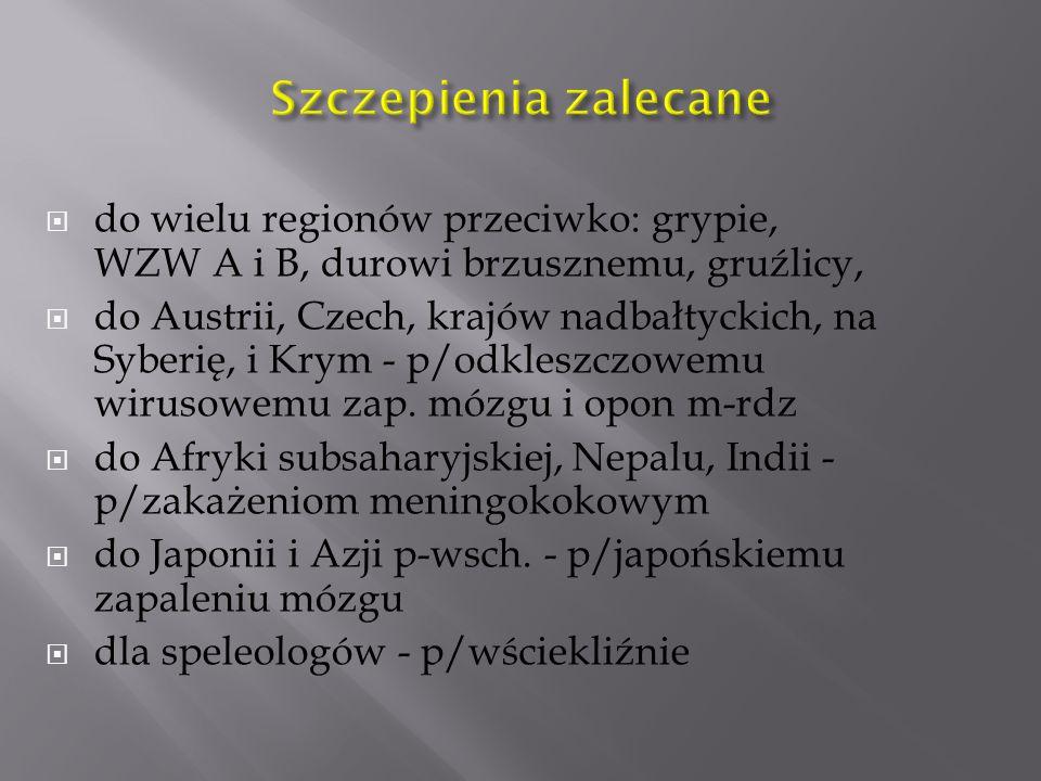 Szczepienia zalecane do wielu regionów przeciwko: grypie, WZW A i B, durowi brzusznemu, gruźlicy,