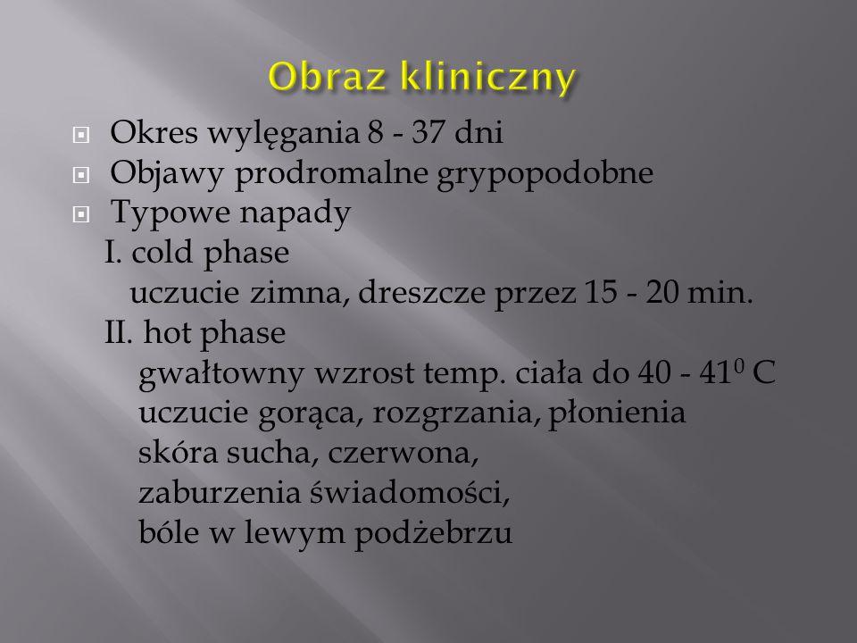Obraz kliniczny Okres wylęgania 8 - 37 dni