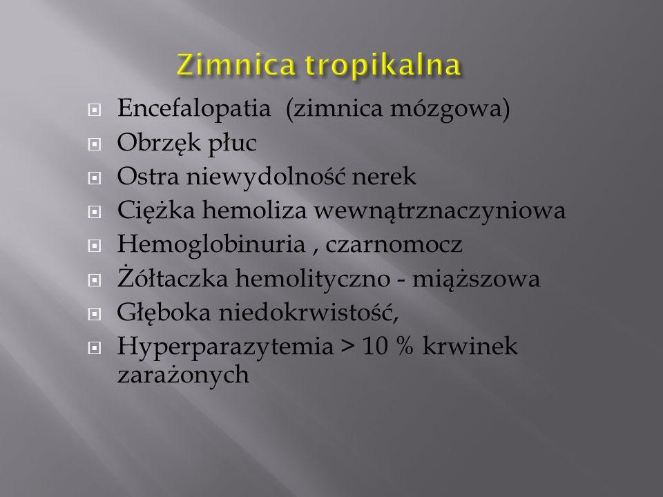 Zimnica tropikalna Encefalopatia (zimnica mózgowa) Obrzęk płuc