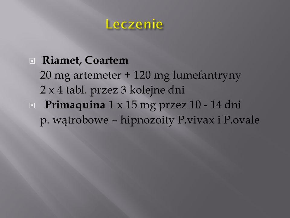 Leczenie Riamet, Coartem 20 mg artemeter + 120 mg lumefantryny