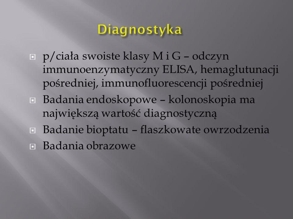 Diagnostyka p/ciała swoiste klasy M i G – odczyn immunoenzymatyczny ELISA, hemaglutunacji pośredniej, immunofluorescencji pośredniej.