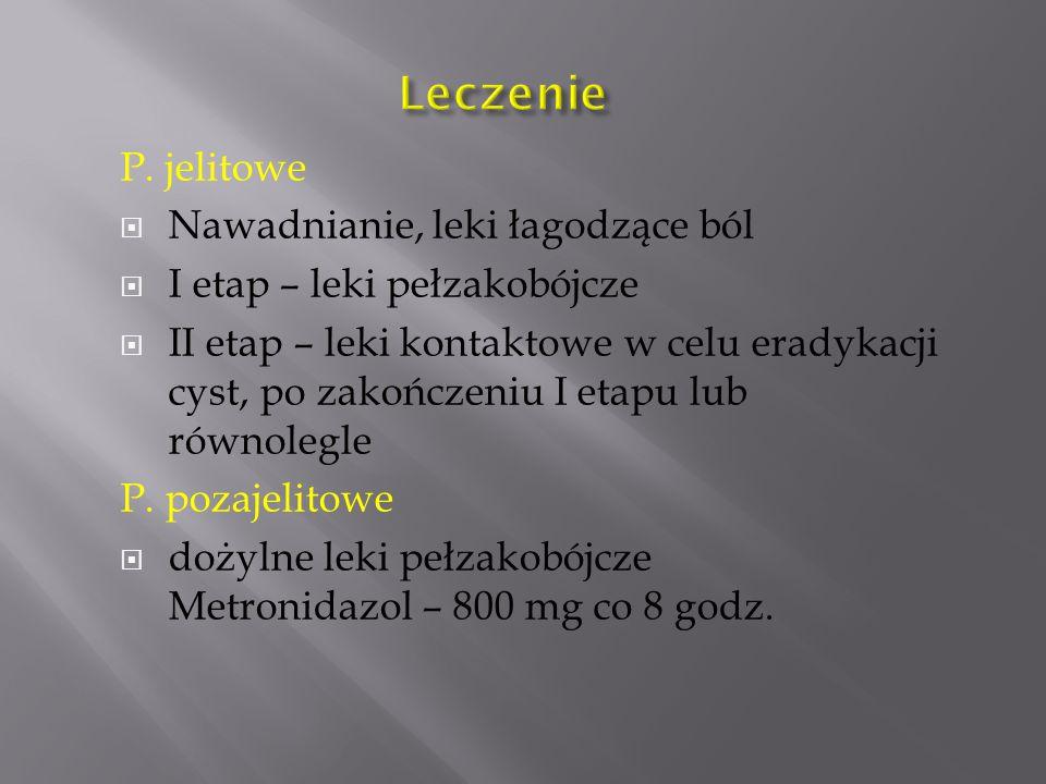 Leczenie P. jelitowe Nawadnianie, leki łagodzące ból