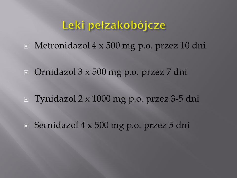 Leki pełzakobójcze Metronidazol 4 x 500 mg p.o. przez 10 dni