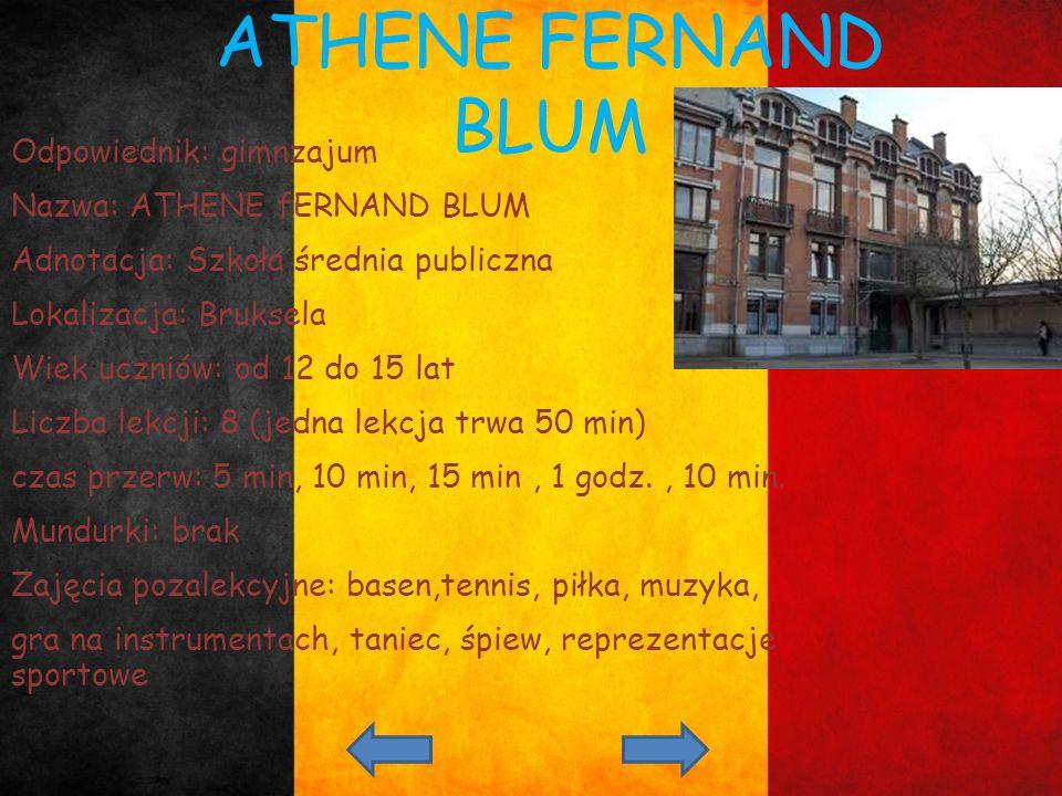 ATHENE FERNAND BLUM Odpowiednik: gimnzajum Nazwa: ATHENE fERNAND BLUM