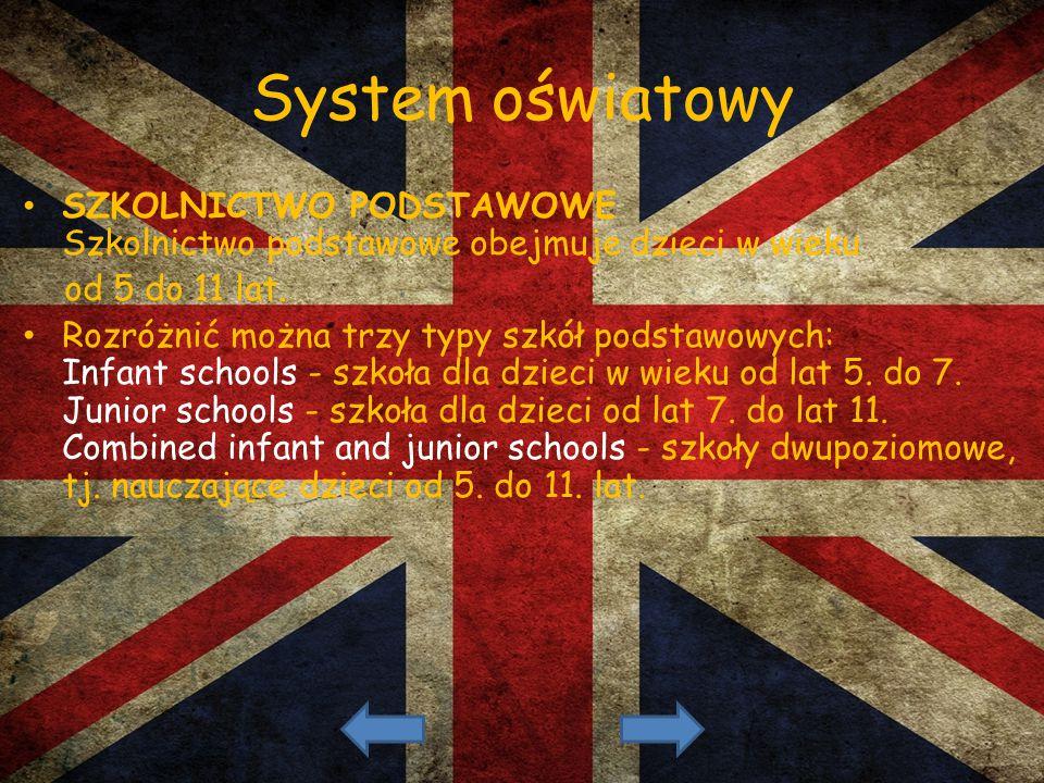 System oświatowy SZKOLNICTWO PODSTAWOWE Szkolnictwo podstawowe obejmuje dzieci w wieku. od 5 do 11 lat.