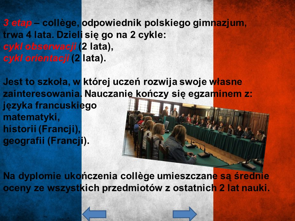 3 etap – collège, odpowiednik polskiego gimnazjum,