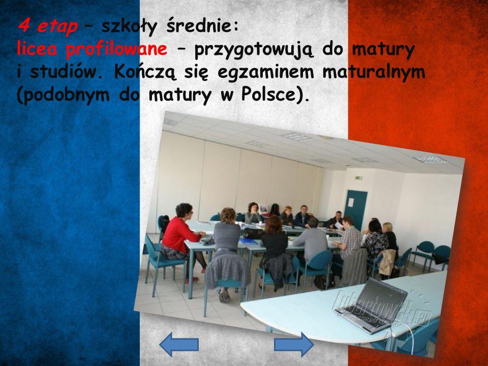4 etap – szkoły średnie: licea profilowane – przygotowują do matury.