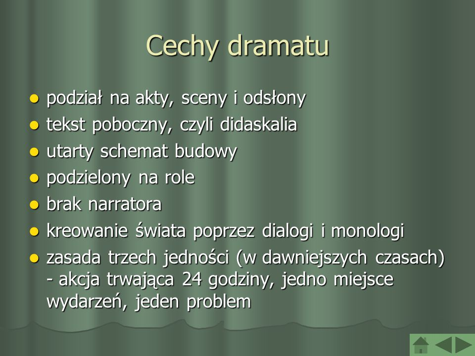 Cechy dramatu podział na akty, sceny i odsłony