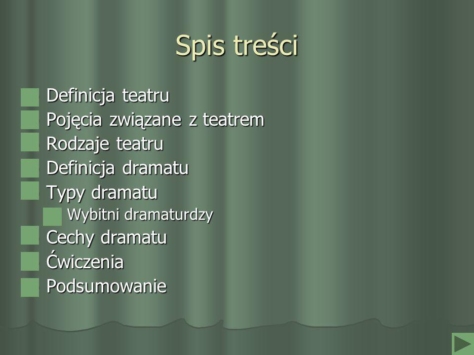 Spis treści Definicja teatru Pojęcia związane z teatrem Rodzaje teatru