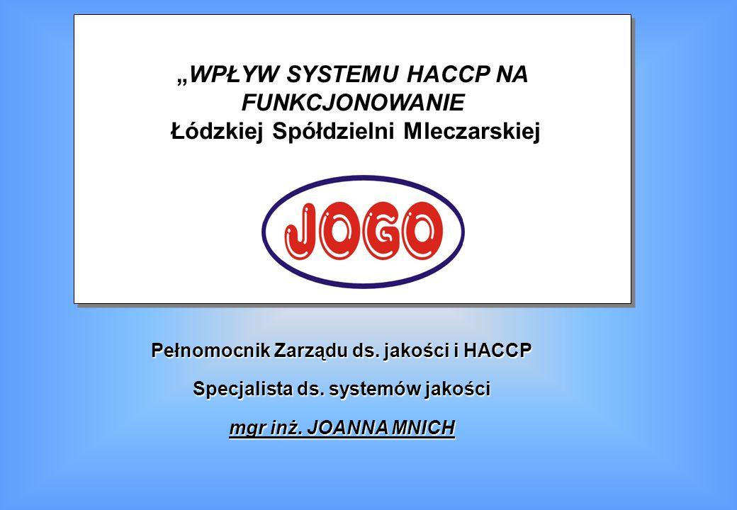 """""""WPŁYW SYSTEMU HACCP NA FUNKCJONOWANIE"""