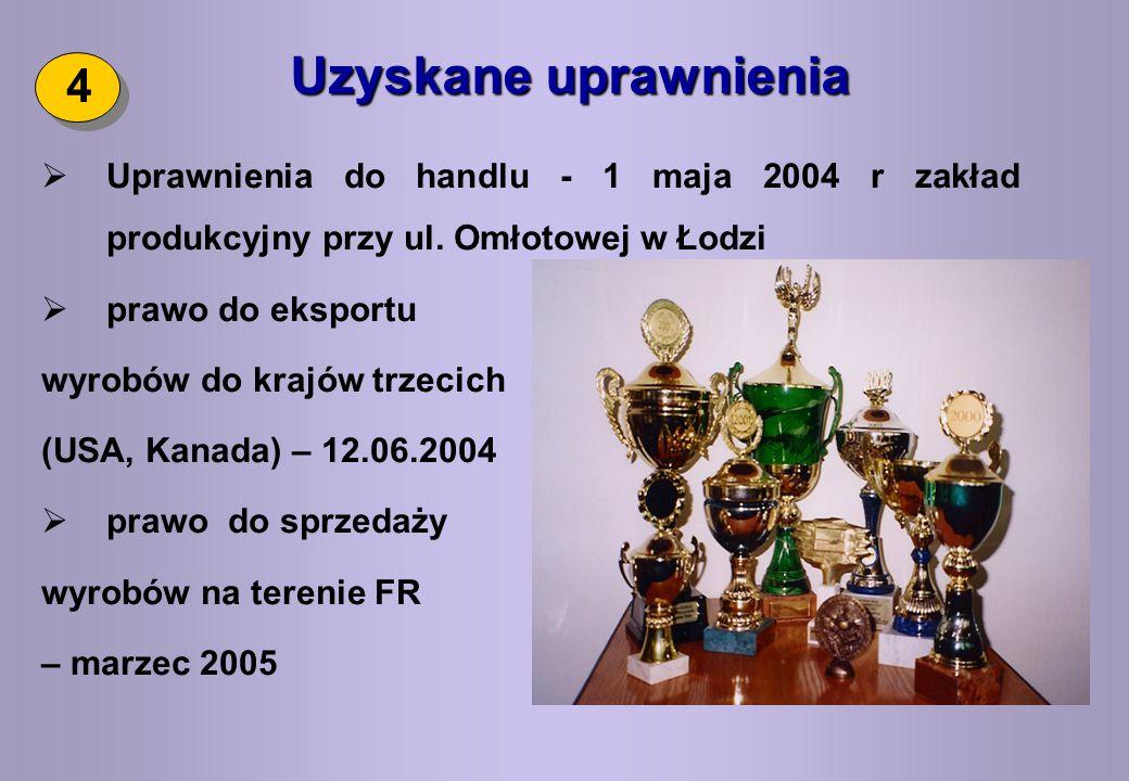 Uzyskane uprawnienia 4. Uprawnienia do handlu - 1 maja 2004 r zakład produkcyjny przy ul. Omłotowej w Łodzi.