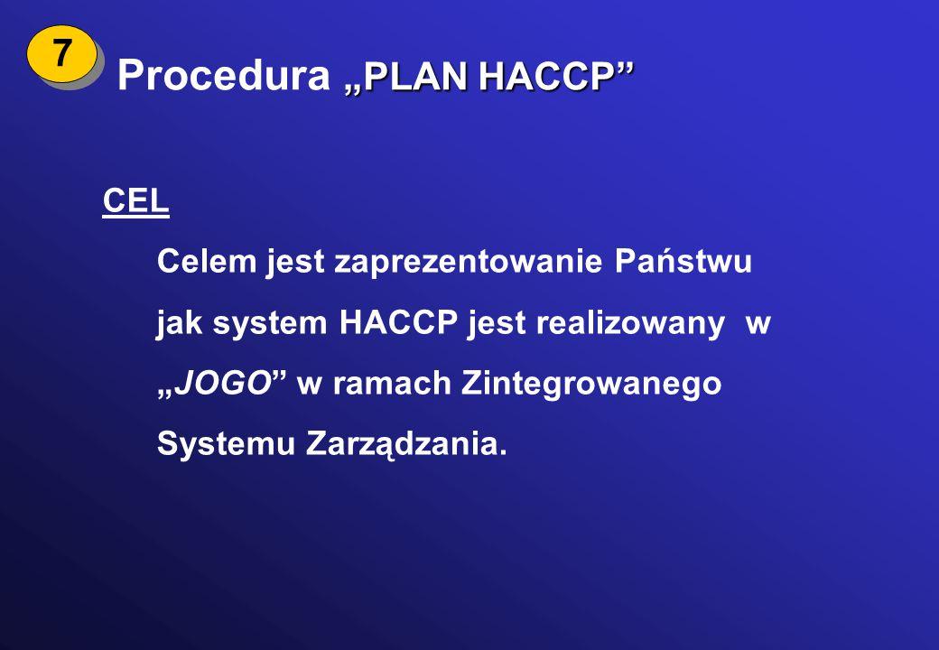 "Procedura ""PLAN HACCP"