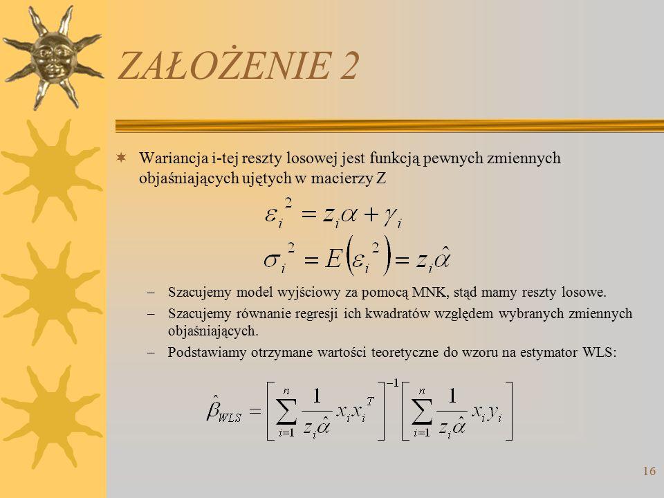ZAŁOŻENIE 2 Wariancja i-tej reszty losowej jest funkcją pewnych zmiennych objaśniających ujętych w macierzy Z.