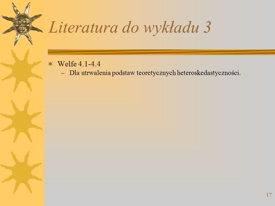 Literatura do wykładu 3 Welfe 4.1-4.4