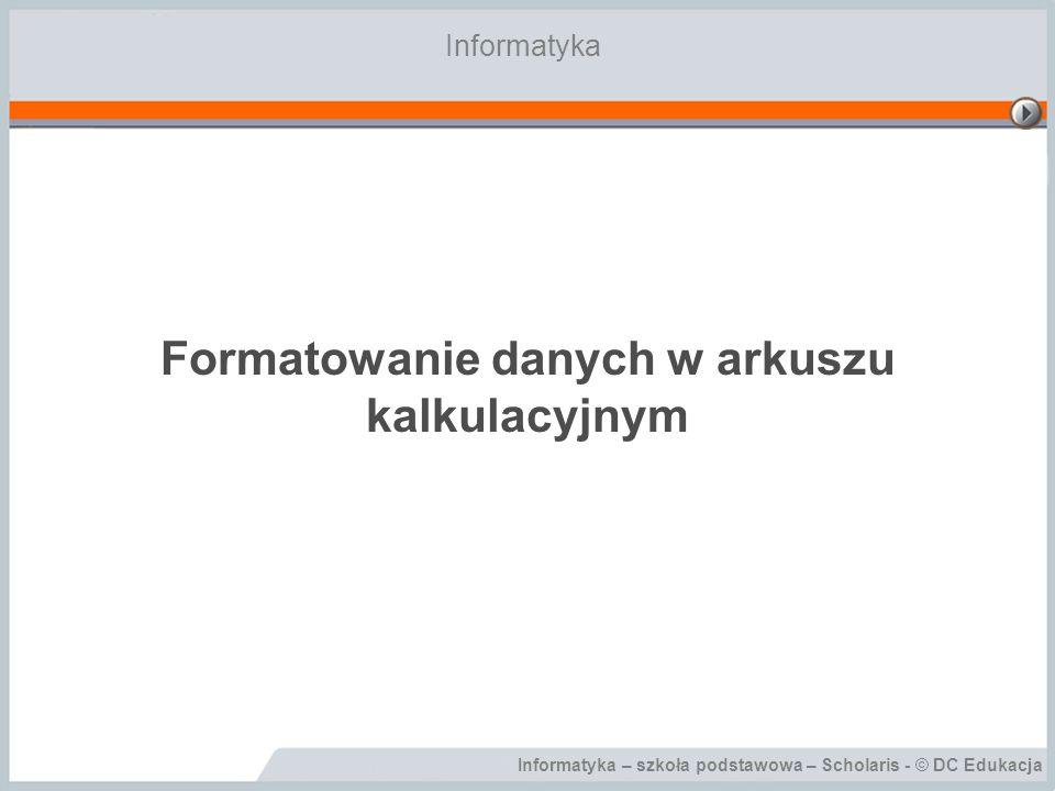 Formatowanie danych w arkuszu kalkulacyjnym