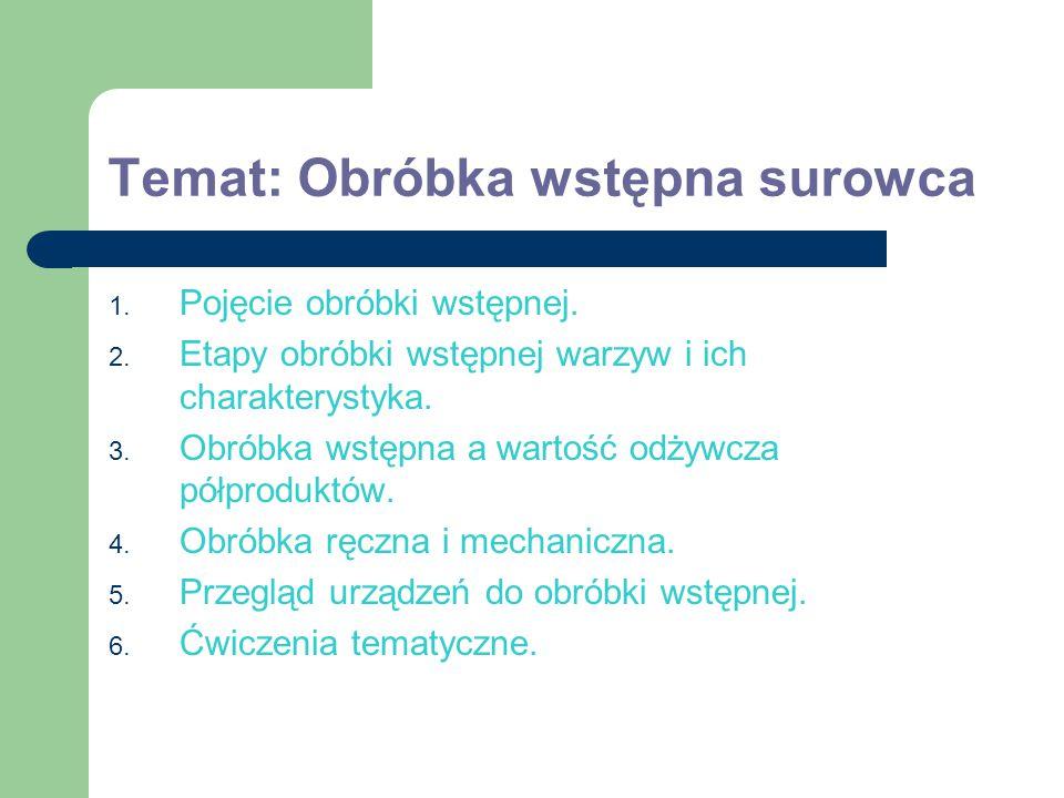 Temat: Obróbka wstępna surowca