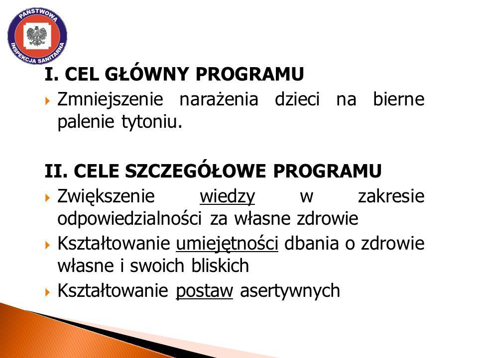 I. Cel GŁÓWNY programu Zmniejszenie narażenia dzieci na bierne palenie tytoniu. II. Cele szczegółowe programu.