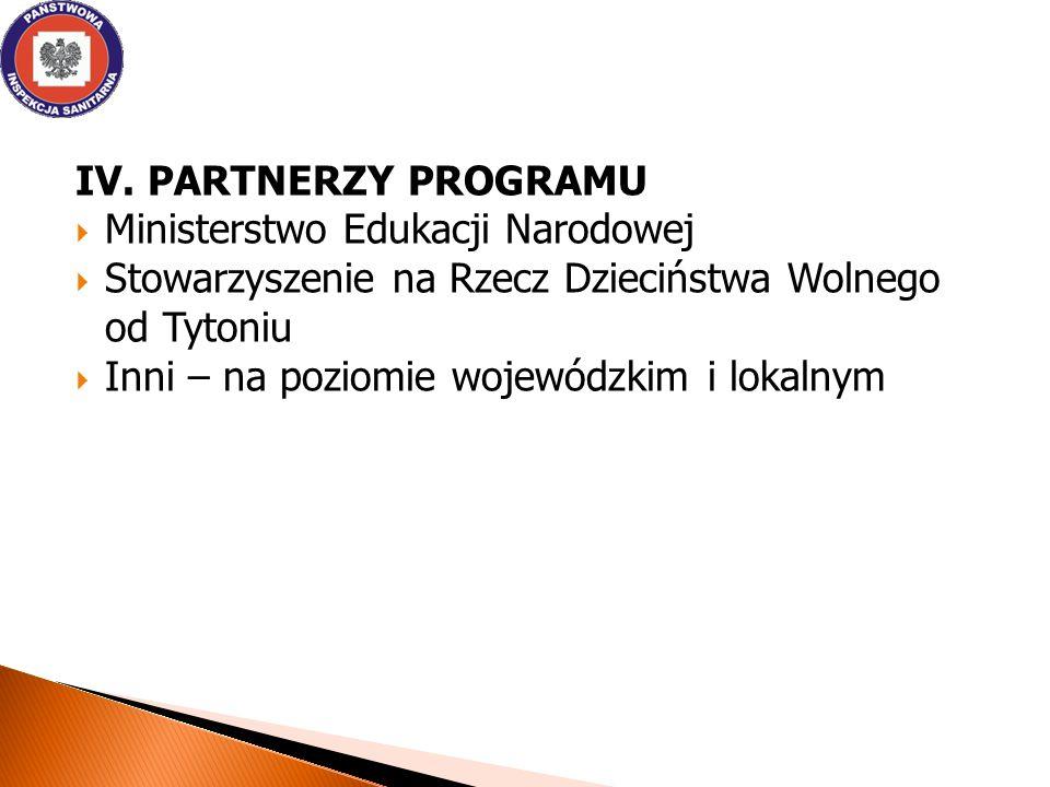IV. PARTNERZY PROGRAMU Ministerstwo Edukacji Narodowej. Stowarzyszenie na Rzecz Dzieciństwa Wolnego od Tytoniu.