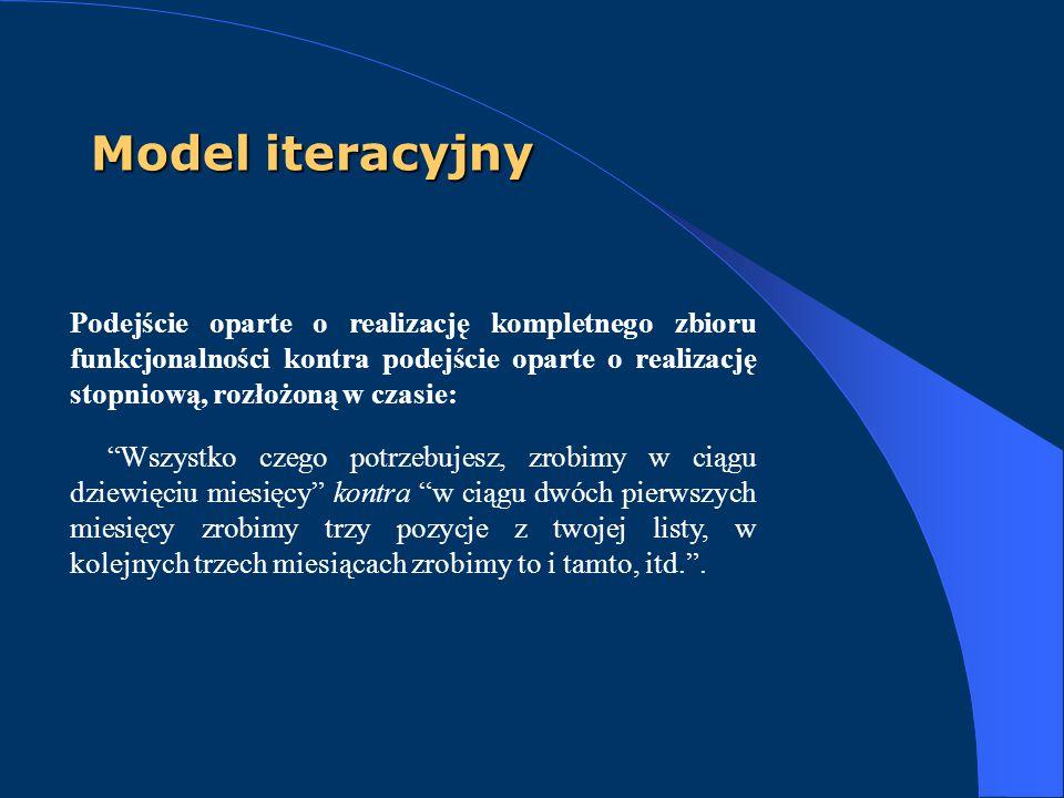 Model iteracyjny Podejście oparte o realizację kompletnego zbioru funkcjonalności kontra podejście oparte o realizację stopniową, rozłożoną w czasie:
