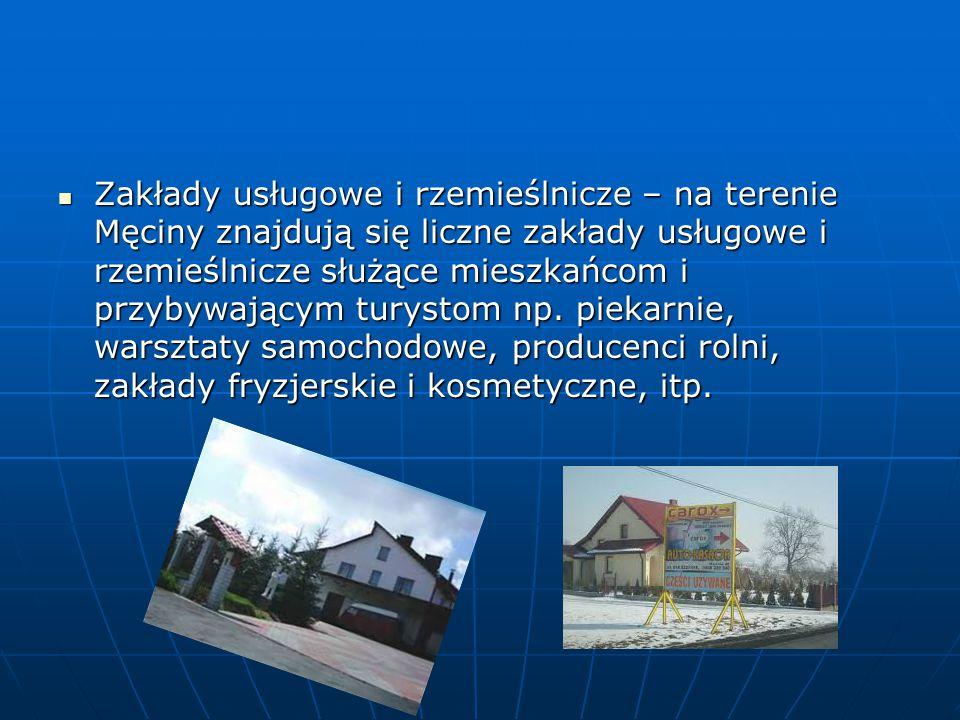 Zakłady usługowe i rzemieślnicze – na terenie Męciny znajdują się liczne zakłady usługowe i rzemieślnicze służące mieszkańcom i przybywającym turystom np.