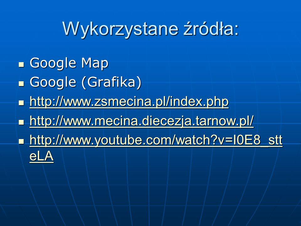 Wykorzystane źródła: Google Map Google (Grafika)