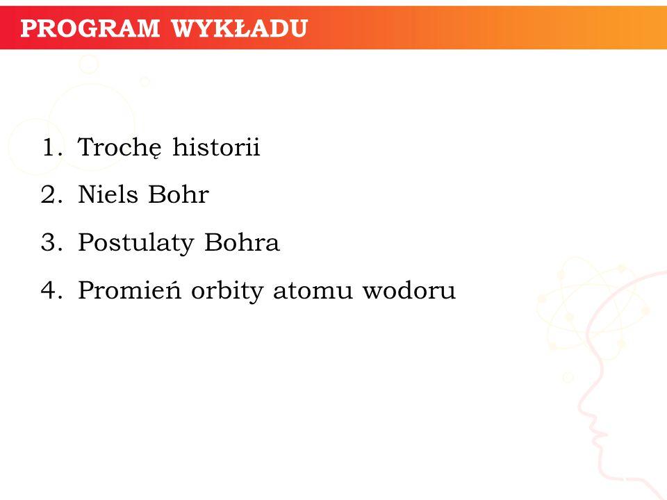 PROGRAM WYKŁADU Trochę historii. Niels Bohr. Postulaty Bohra.
