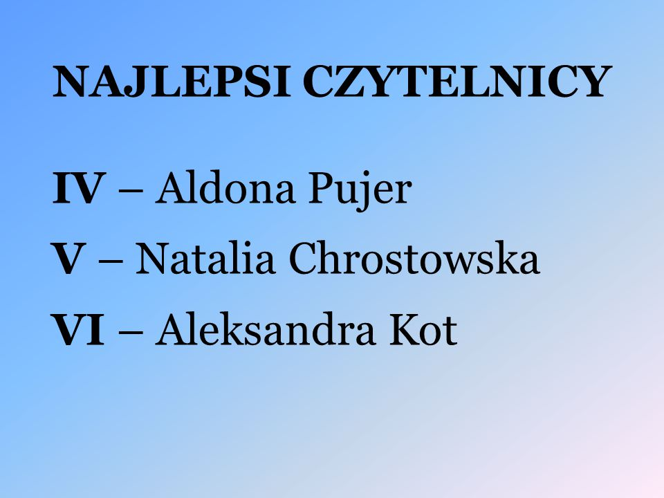 NAJLEPSI CZYTELNICY IV – Aldona Pujer V – Natalia Chrostowska VI – Aleksandra Kot