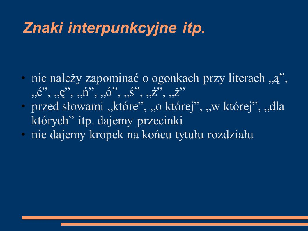 Znaki interpunkcyjne itp.