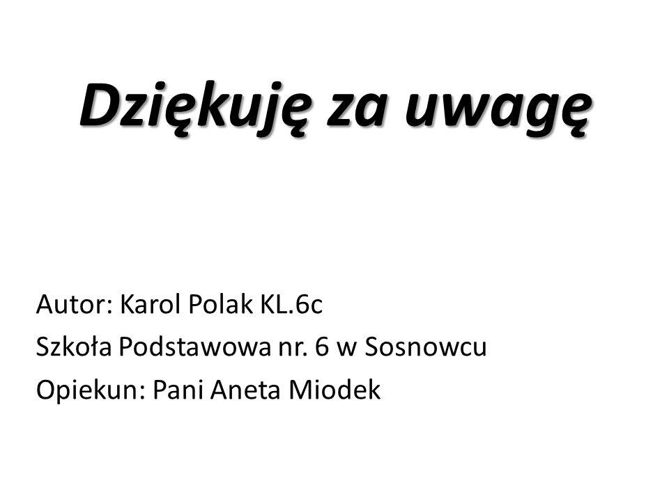 Dziękuję za uwagę Autor: Karol Polak KL.6c Szkoła Podstawowa nr.
