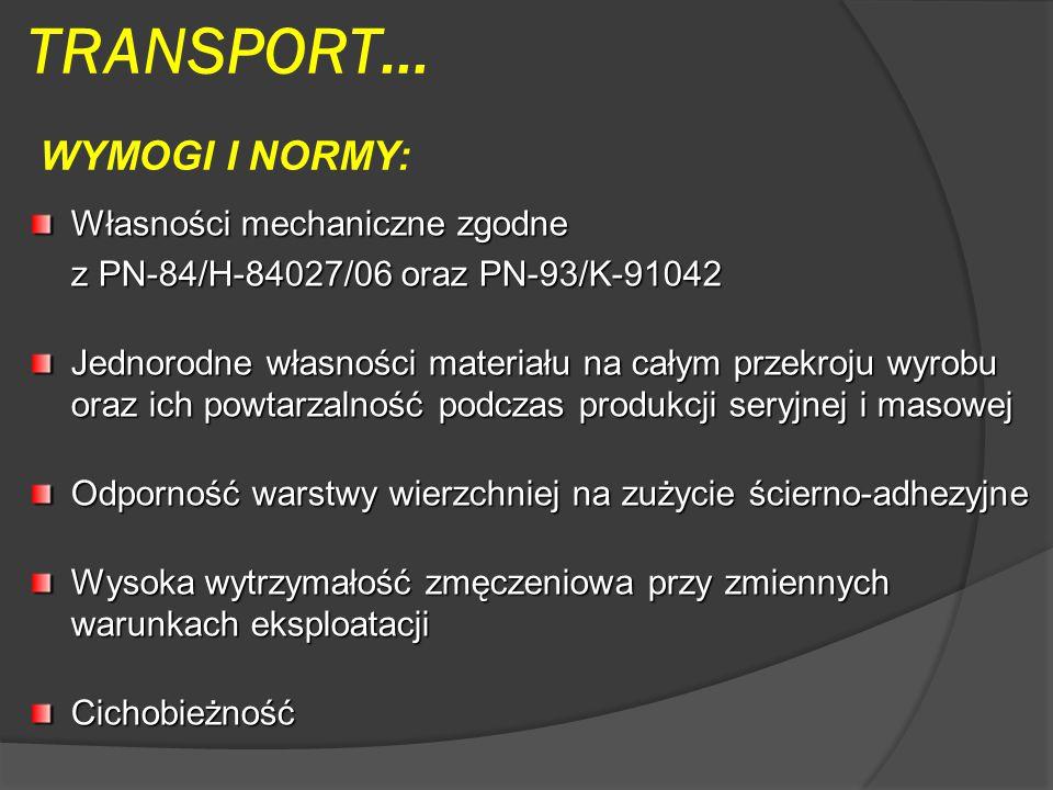 TRANSPORT… WYMOGI I NORMY: Własności mechaniczne zgodne