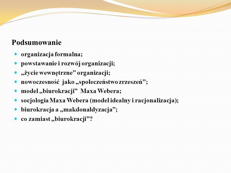 Podsumowanie organizacja formalna; powstawanie i rozwój organizacji;