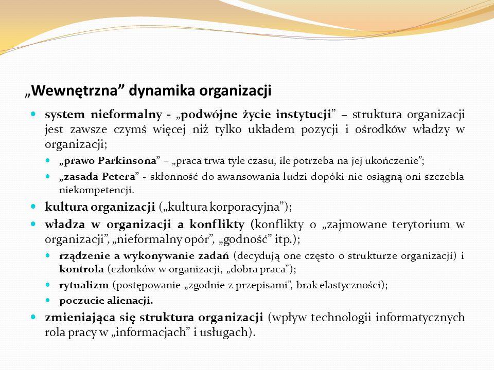 """""""Wewnętrzna dynamika organizacji"""